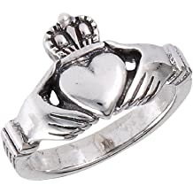 Jinique .925 Sterling Silver Claddagh Ring with Black Color Cz Heart Stone