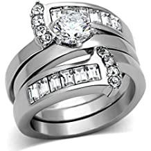 Stainless Steel  2.12 Ct Oval Cut Black Cz Two Toned Ion Plated Wedding Ring Set