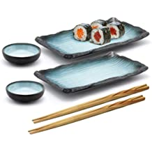 4 Pcs Japanese Sushi Plate Dinnerware Set Black With Chinese Double Happiness Design
