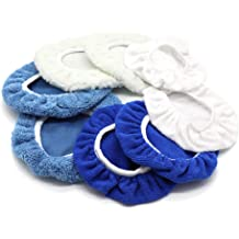 9-10 inch VORCOOL 5pcs Car Polishing Waxing Lambswool Bonnets Pads White