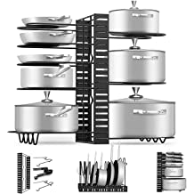 24 by 8.9-Inch Wall Mounted Kitchen Cookware Organizer With 4 Hooks WELLAND Taylor 2 Tier Wooden Pot Pan Rack Shelf