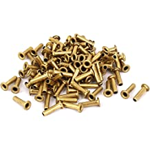Uxcell a15091700ux0454 20 Pcs 3//16 D 1 3//8 L Shank Round Head Copper Solid Rivets Fasteners