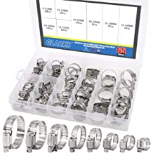 Hose Clamp,64 Pcs All Stainless Steel Adjustable 6-38mm Range Worm Gear Hose Clamp,Fuel Line Clamp for Plumbing ss0025 1 Automotive and Mechanical Applications Assortment Kit