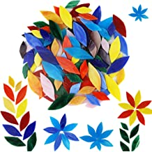 LITMIND 120 Pieces Stained Glass Flowers and Leaves with 2Pcs Diamond Needle File Set Garden Mosaic Stain Glass Petals for DIY Crafts
