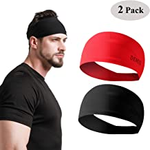 Red Yoga and Bike Helmet Friendly Cross-Train Temple Tape Headbands for Men and Women Mens Sweatband /& Sports Headband Moisture Wicking Workout Sweatbands for Running Pocket Edition