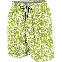 Mens Swim Trunks Quick Dry Summer Holiday Beach Shorts with Mesh Lining Green Clover St Patricks Day Beachwear