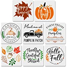 10 Inches Autumn Pumpkin Truck//Maple Leaf//Fall Harvest Themed Templates for Thanksgiving Decoration DIY Fabric Canvas Wall Wood Signs 4 Pcs Fall Painting Stencil