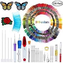 Cross Stitch Tool Kit AROYEL Magic Embroidery Pen Punch Needle Full Set,Punch Needle Set Magic Embroidery Pen with 50 Colors Threads/&Embroidery Tools