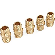 3//4-Inch NPT x 1//2-Inch NPT,Solid Brass Male Pipe Tailonz Pneumatic Pipe Fitting and Air Hose Fitings Hex Nipple Coupling Set 5 PCS