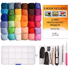 Needle Felting Kit Complete Needle Felting Starter Kit with Basic Felt Tools and Supplies 24 Colors Wool Roving for Felting + 3.53oz Wool Roving Yarn 5g//Color