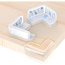 PORUARY Soft Baby Proofing Corner Guards Stripe Protectors 8 Pack with Pre-Taped 3M Tape Clear Corner Protectors Safe Corner Cushion L-Shaped Brown