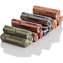 Assorted MMF Industries Flat Tubular Coin Wrappers 150 Wrappers per Package 216015047 Color-Coded Kraft Paper