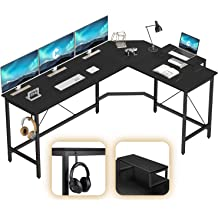 CubiCubi L-Shaped Desk Computer Corner Desk Home Office Gaming Table Sturdy Writing Workstation with Small Table Space-Saving White Easy to Assemble