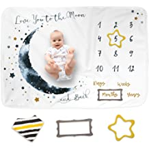Large Personalized Photography Background Blankets Bib Baby Monthly Milestone Blanket for Boy Girl Bear Blanket, 43x47 Frame Thick Fleece for Mom Newborn Baby Shower Gifts