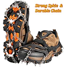 HongXingHai Ice Snow Grips Traction Cleats for Shoes Boots Anti Slip ice Grippers with Velcro Straps Stretch Cleats Crampons for Hiking Walking Climbing Jogging Mountaineering
