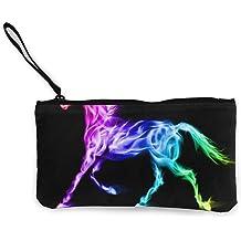 Coin Purse Rainbow Unicorn Flame Womens Zip Canvas Wallet TravelVintage Case