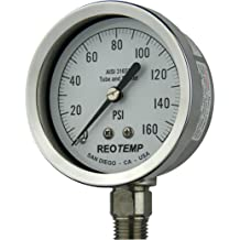 1//2 NPT Connection Back Mount 3 Dial 9 Stem 0 to 200 Degrees F REOTEMP AA0901F43 Stainless Steel Bi Metal Thermometer