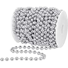 KUPOO 33ft Artificial Pearls Beads Chain Garland Flowers DIY Wedding Party Decoration Silver