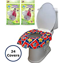 Squirrel Coolrunner Full Cover Cartoon Travel Toilet Potty Covers Individually Wrapped Portable Potty Shields for Adult 18 Pack Kids and Toddler Potty Training XL Disposable Toilet Seat Covers