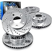 For 2011 Chevrolet Cruze Front eLine Black Drill Slot Brake Rotors+Ceramic Pads