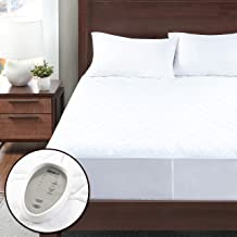 Degrees of Comfort Dual Control Heated Mattress Pad Queen Size Fit Up to 15 Inch 12.5ft Long Cord 60x80 Inch Zone Heating Electric Bed Warmer W// Auto Shut Off White