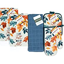 Pot Holder and Oven Mitt Hello Fall Matching Fall Placemats Comes in an organza bag so its ready for giving! 8 pc Vintage Truck Fall Kitchen Decor Set Kitchen Towels