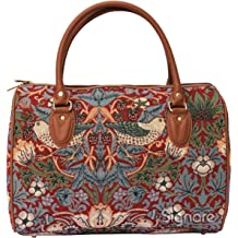 William Morris Strawberry Thief Tapestry Flap Buckle Pull String Backpack by Signare RUCK